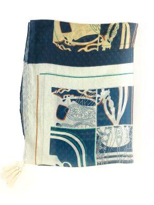 شال طرحدار نخی منگوله دار (آبی و سفید)