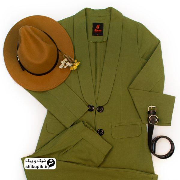 ست کت و شلوار لینن سبز